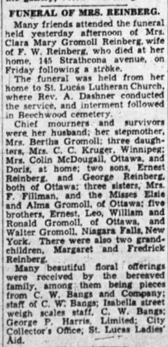 Clara Mary Gromoll Reinberg Obituary june 18 1935