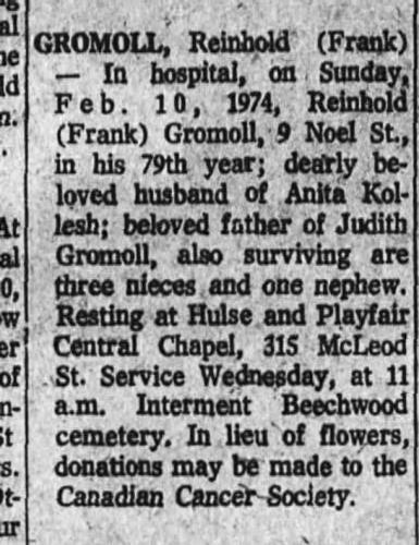 frank reinhold gromoll obituary